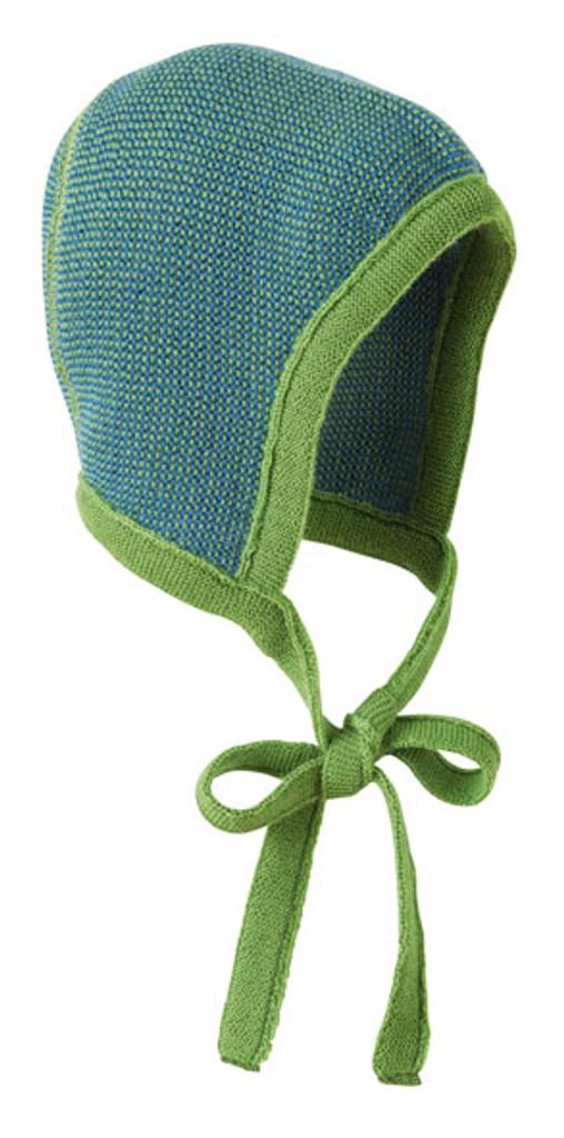 Knitted Melange Bonnet Color: Green Blue