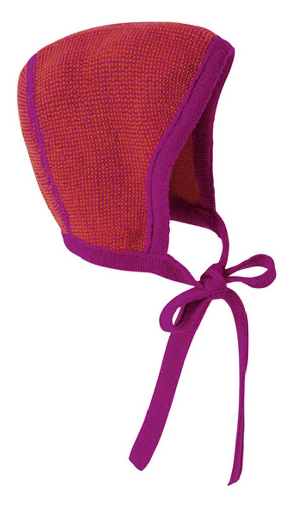 Knitted Melange Bonnet Color: Berry Orange