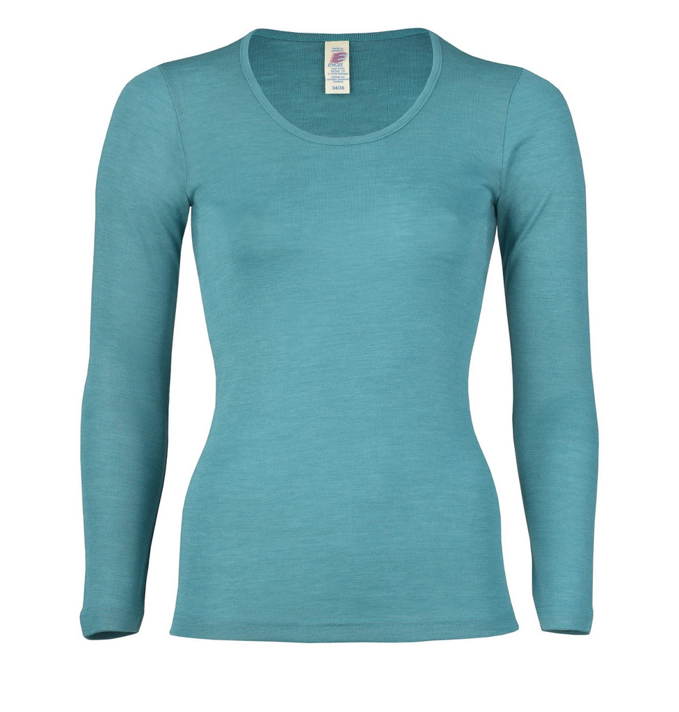 Engel Organic Wool/Silk Women's Long Sleeved Shirt  Color: 35 Turquoise
