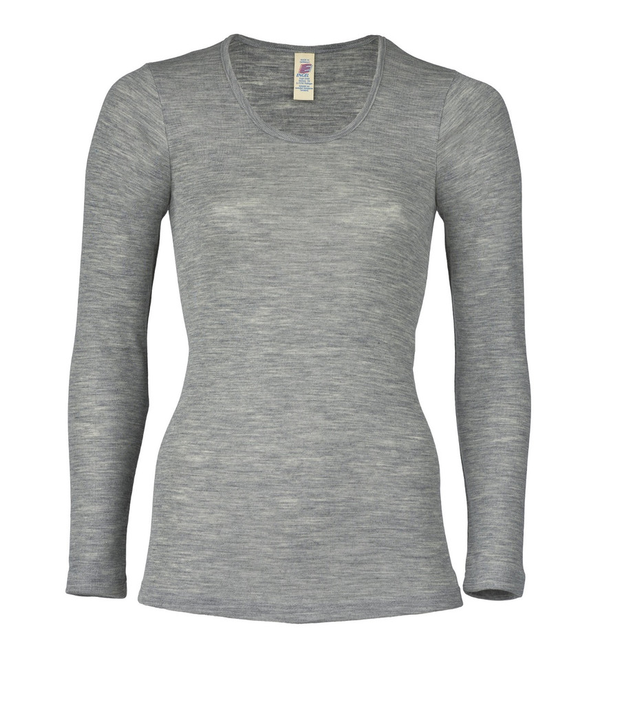 Engel Organic Wool/Silk Women's Long Sleeved Shirt  Color: Grey Melange