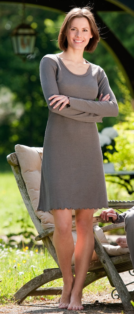 Organic Wool/ Silk Women's Nightgown Color:  taupe