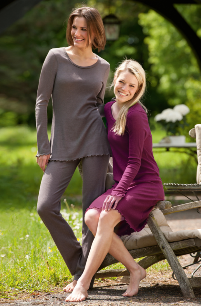 Organic Wool/ Silk Women's Nightshirt Color: taupe  orchid