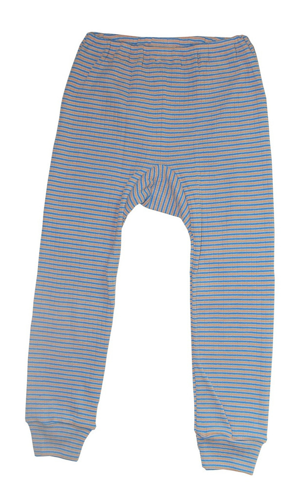 Organic Wool/ Silk/ Cotton Long Johns for Children Color: Blue/ Apricot/ Natural Stripes