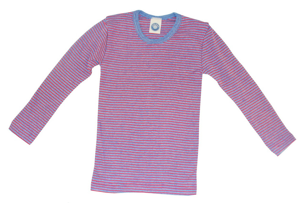 Organic Cotton Long Sleeved Shirt for Children Color: navy/ natural/ red