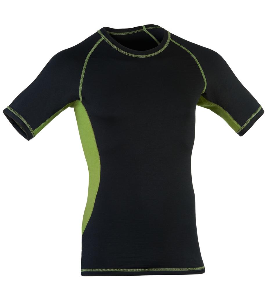 Organic Wool/ Silk Men's Short Sleeved Top Color: Black / Lime