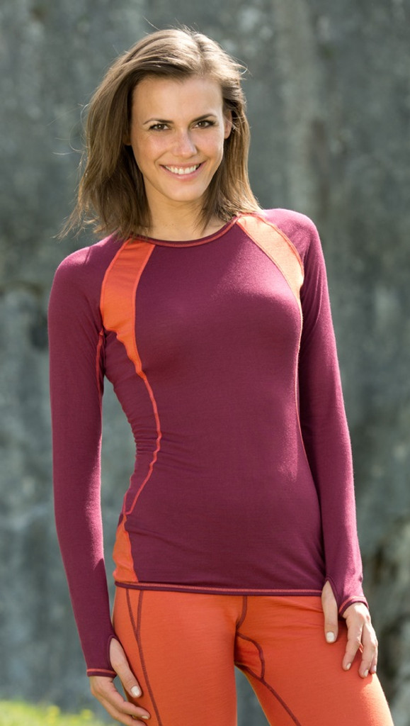 Organic Wool/ Silk Women's Long Sleeved Midweight Base Layer, Crew Neck