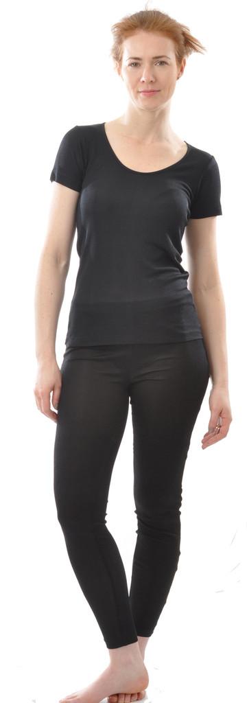 Organic Ribbed Silk Leggings for Women
