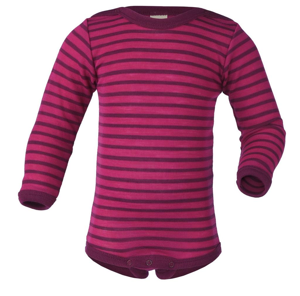 Organic Wool/ Silk Baby Bodysuit Color: 5504E raspberry / orchid