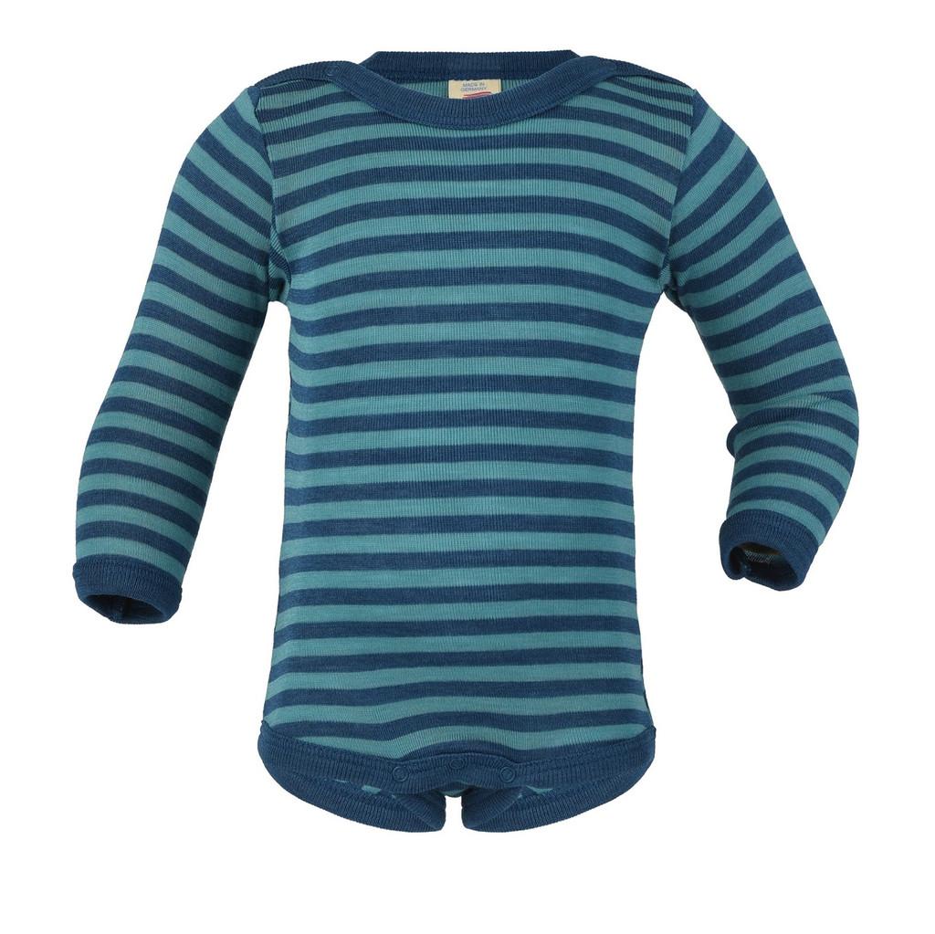 Organic Wool/ Silk Baby Bodysuit Color: Light ocean / Ice-blue