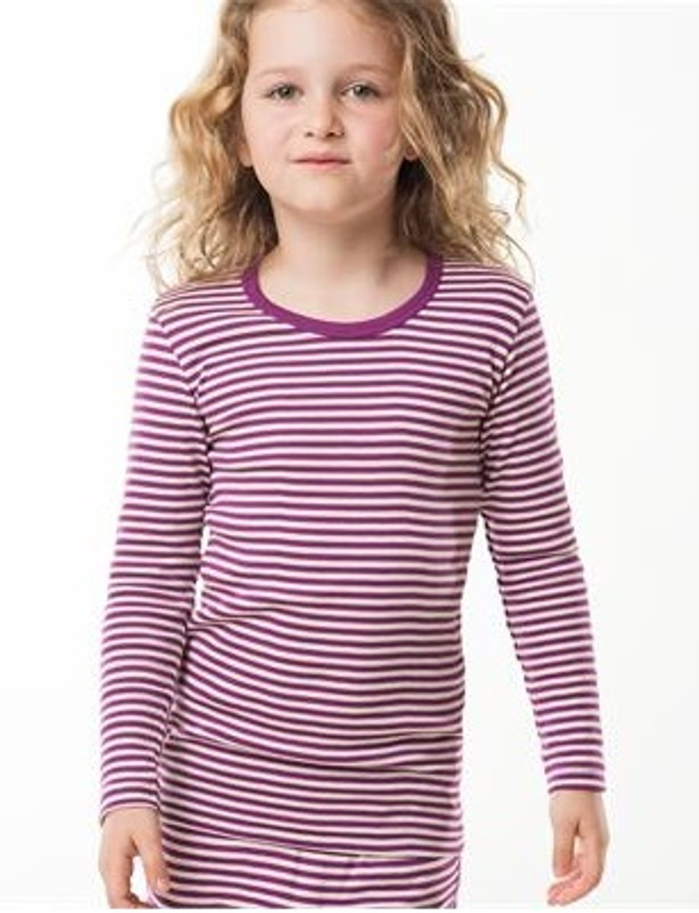 Organic Cotton Long Sleeved Shirt for Children Color: Purple/ natural stripes