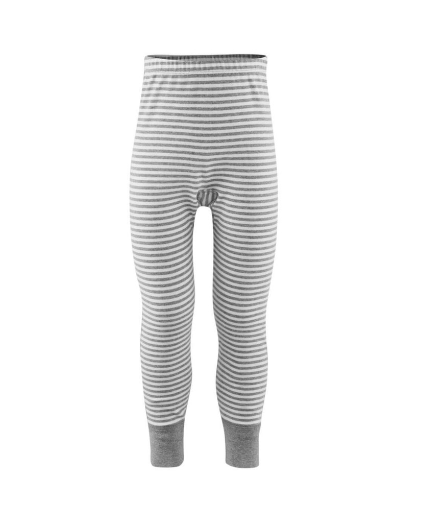 Organic Cotton Kid's Long Underwear Pants Color:  Grey Striped