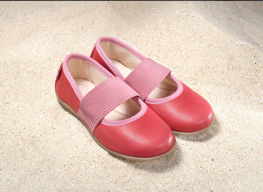 Natural Leather Children's Ballerina Shoes Color: Berry