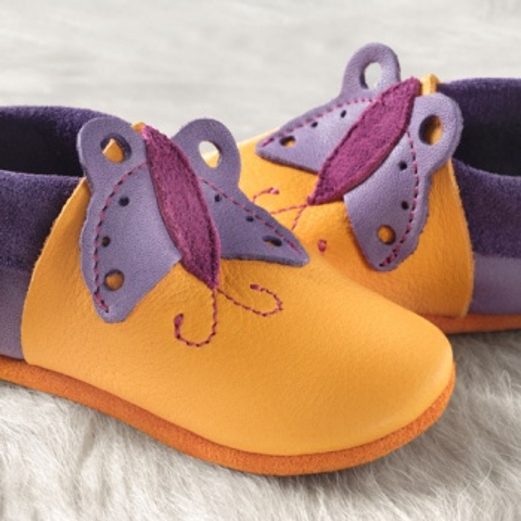 """Handmade Natural Leather Soft-Soled Indoor Slippers - """"Butterfly"""" Mango"""