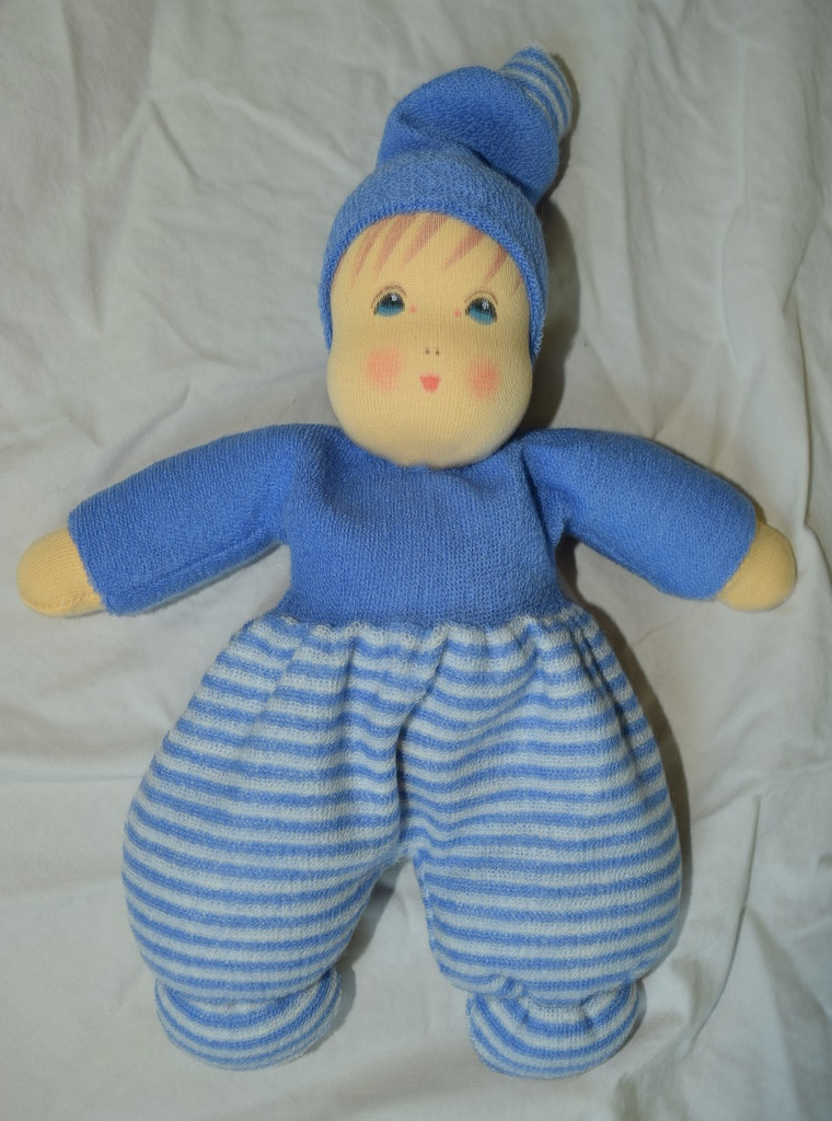 Organic Cotton Striped Waldorf Doll - Blue Striped