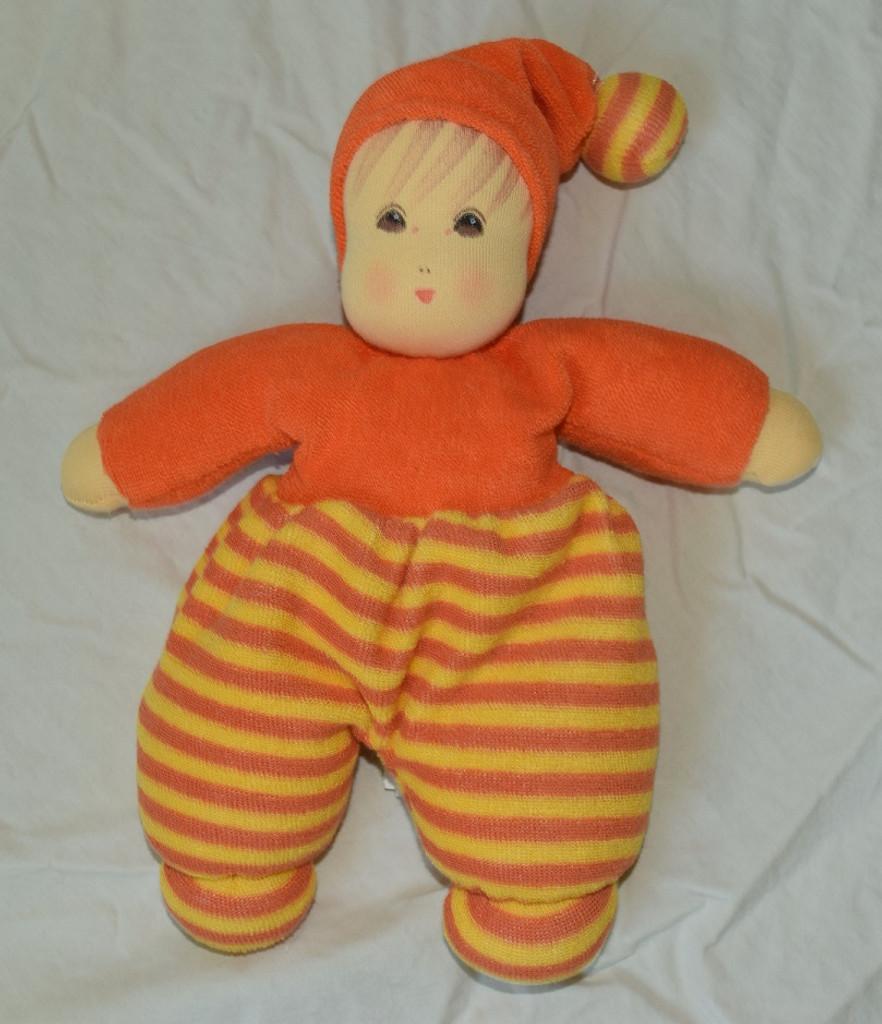 "Organic Cotton Striped Waldorf Doll - Orange Striped 10"""