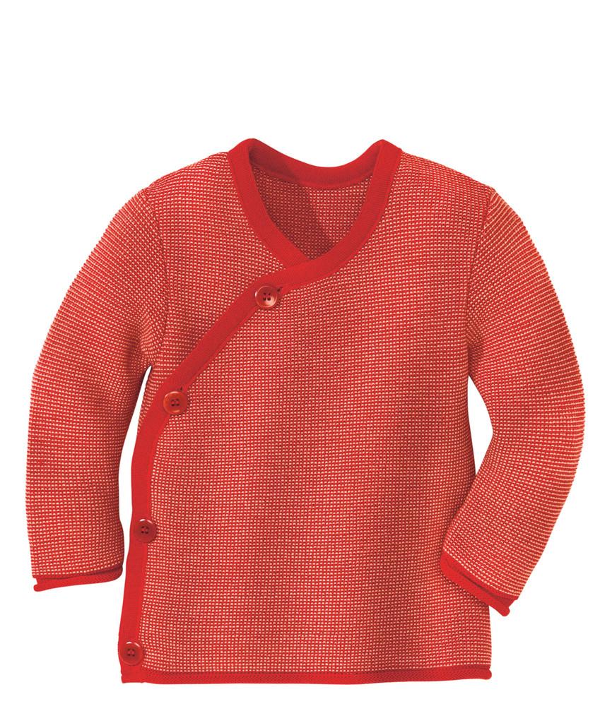 Disana Organic Wool Melange Jacket Sweater Color: Red Rose