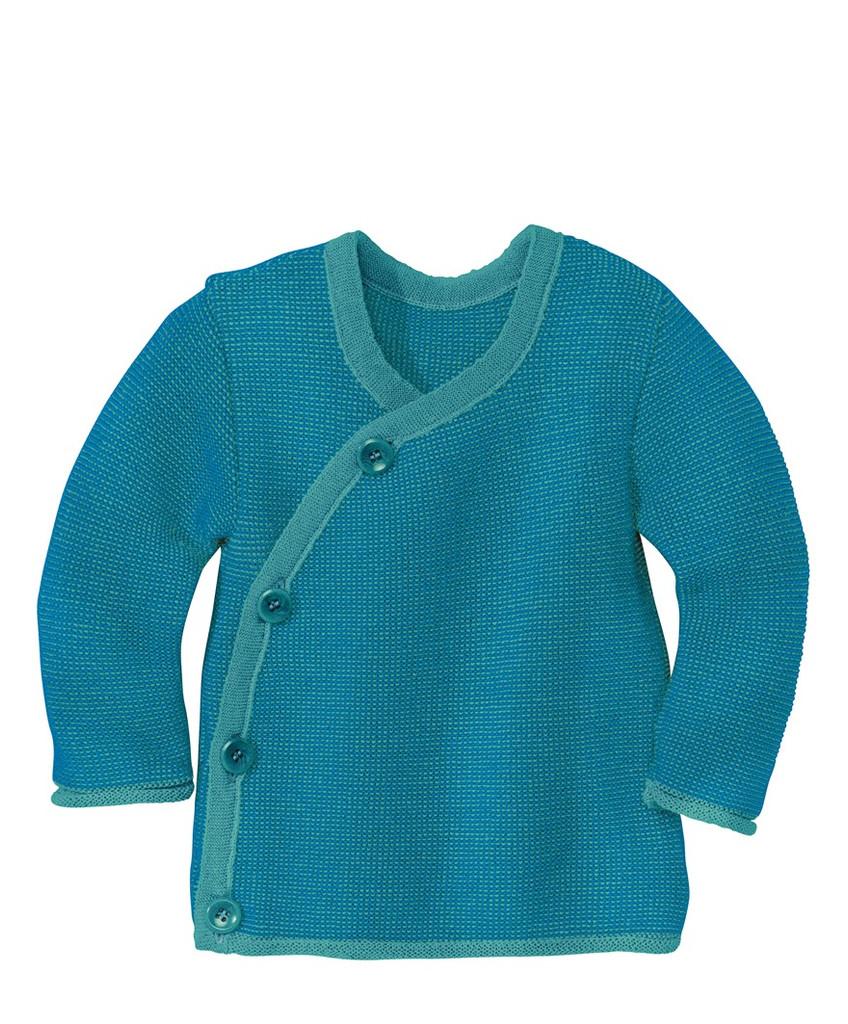 Disana Organic Wool Melange Jacket Sweater Color: 922 Blue Lagoon