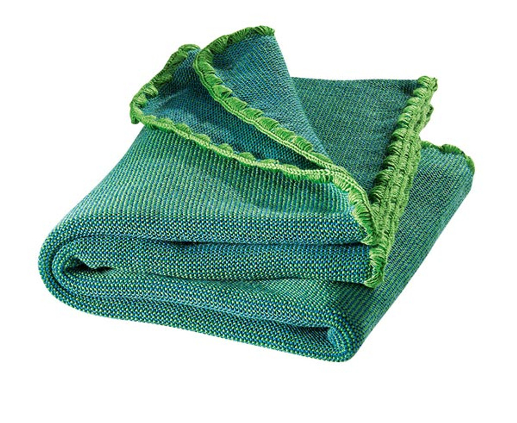 Organic Wool Melange Knitted Baby Blanket. Color: Green Blue