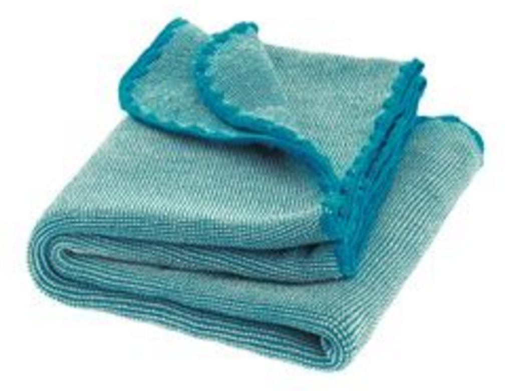 Organic Wool Melange Knitted Baby Blanket. Color: Blue Nature