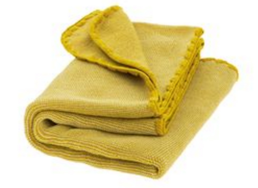 Organic Wool Melange Knitted Baby Blanket. Color: Curry Nature