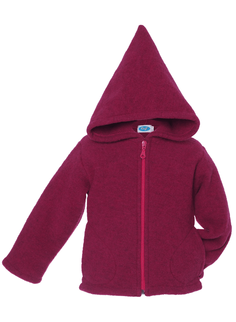 Organic Wool Fleece Hooded Jacket Color: Berry