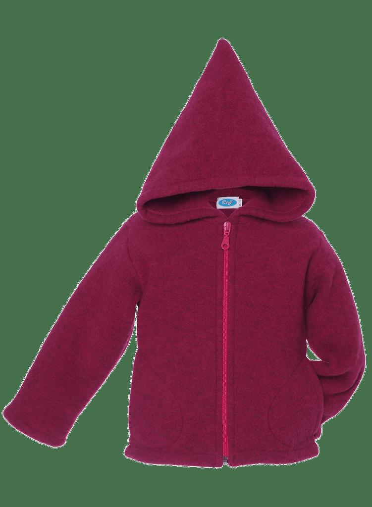Organic Wool Fleece Hooded Jacket Color: Berry