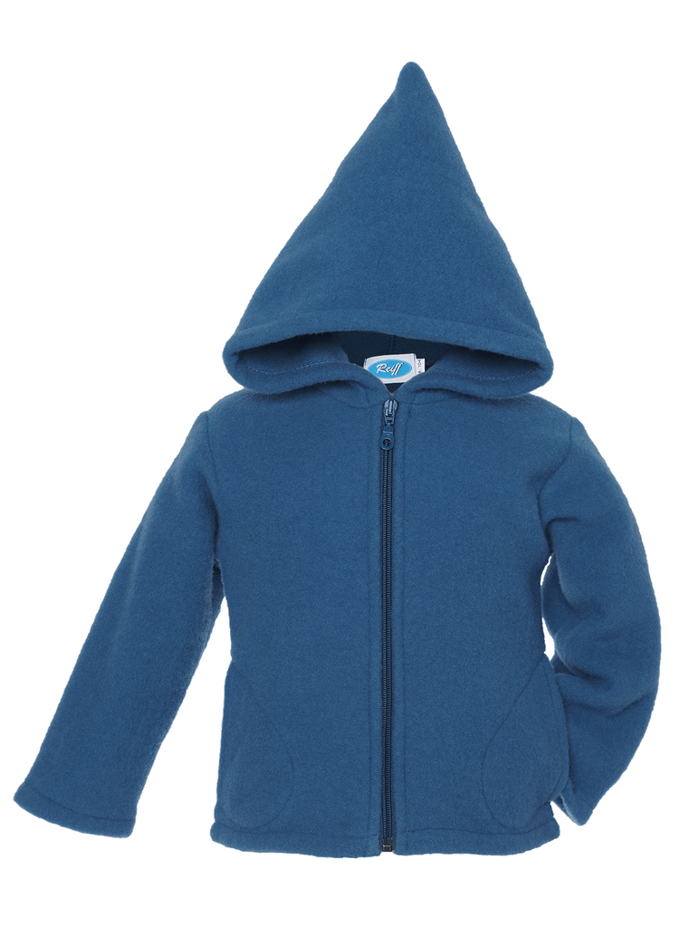Organic Wool Fleece Hooded Jacket Color: Pacific