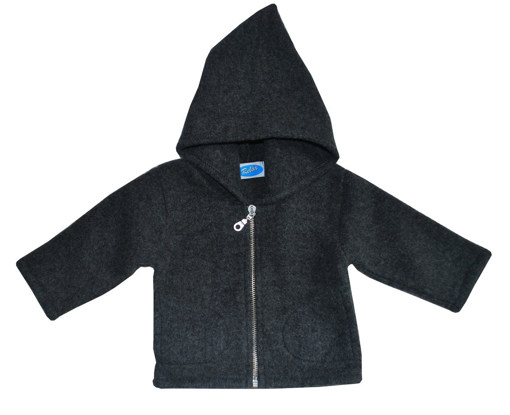 Organic Wool Fleece Hooded Jacket Color: Dark Grey
