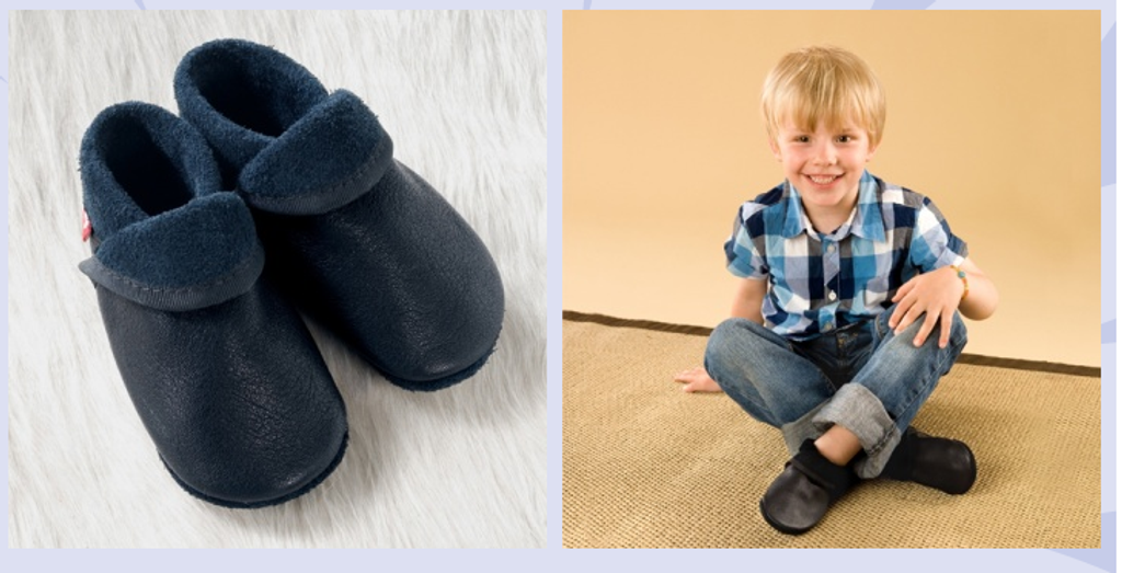 "Natural Leather Soft-Soled Indoor Slippers | ""Classic"" Navy"