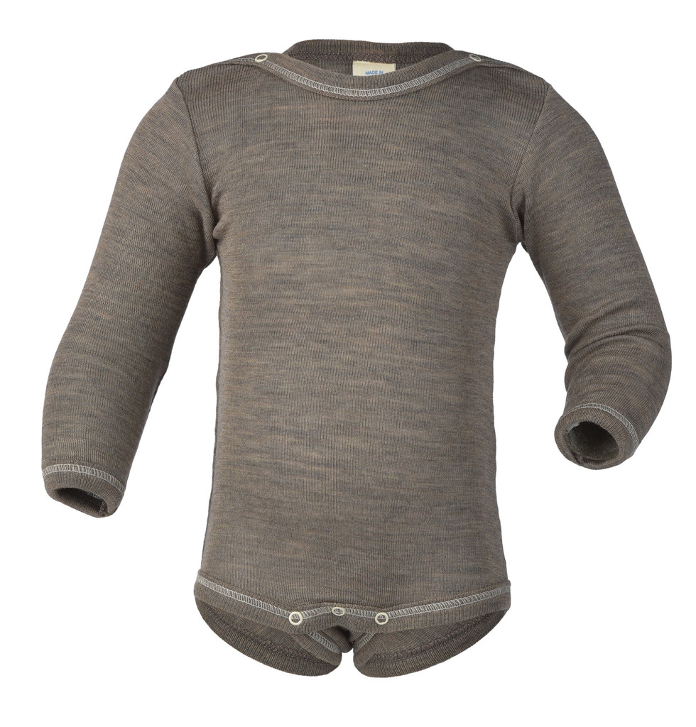 Baby Bodysuit, Organic Merino Wool/Silk Color: Walnut