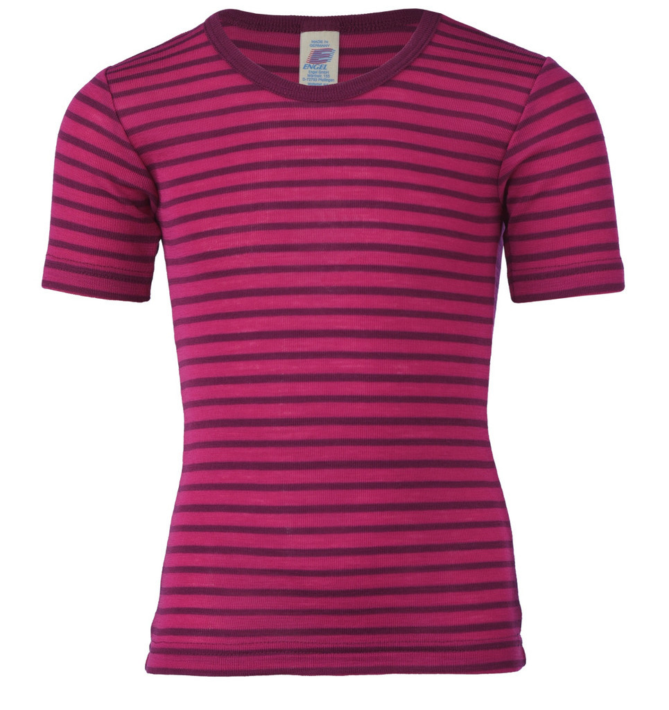 Children's Short Sleeve Shirt, Organic Wool/ Silk Color: 5504E raspberry / orchid