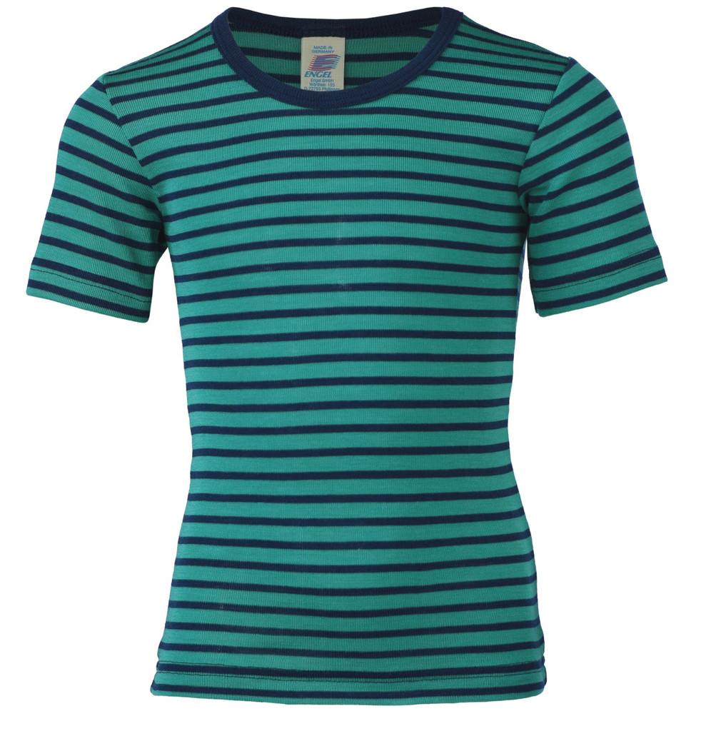 Children's Short Sleeve Shirt, Organic Wool/ Silk Color: 3533E ice-blue / navy-blue