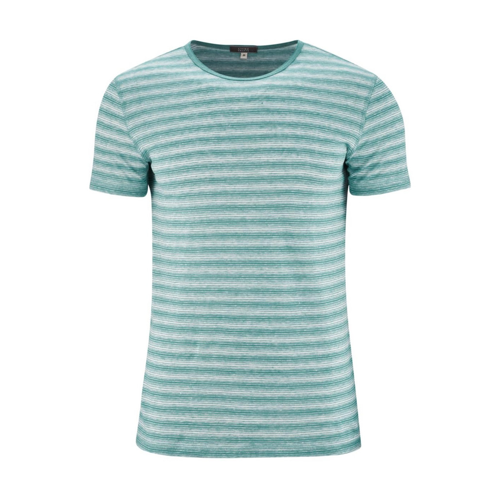 T-Shirt Organic Linen  Color: 757 lagoon/white