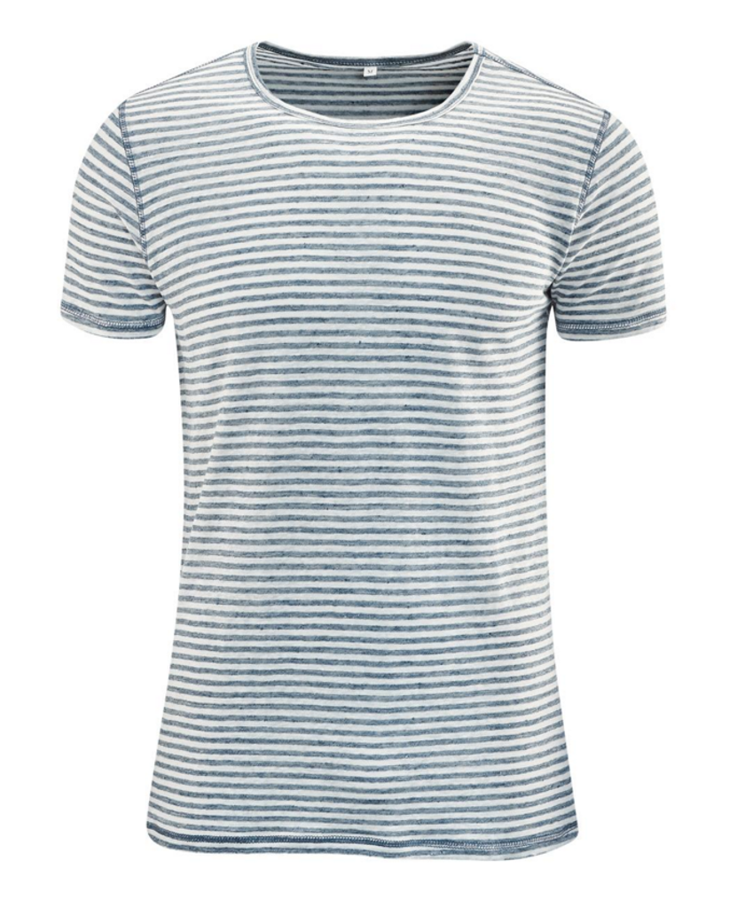 T-Shirt Organic Linen  Color: Cloud Blue Melange / White