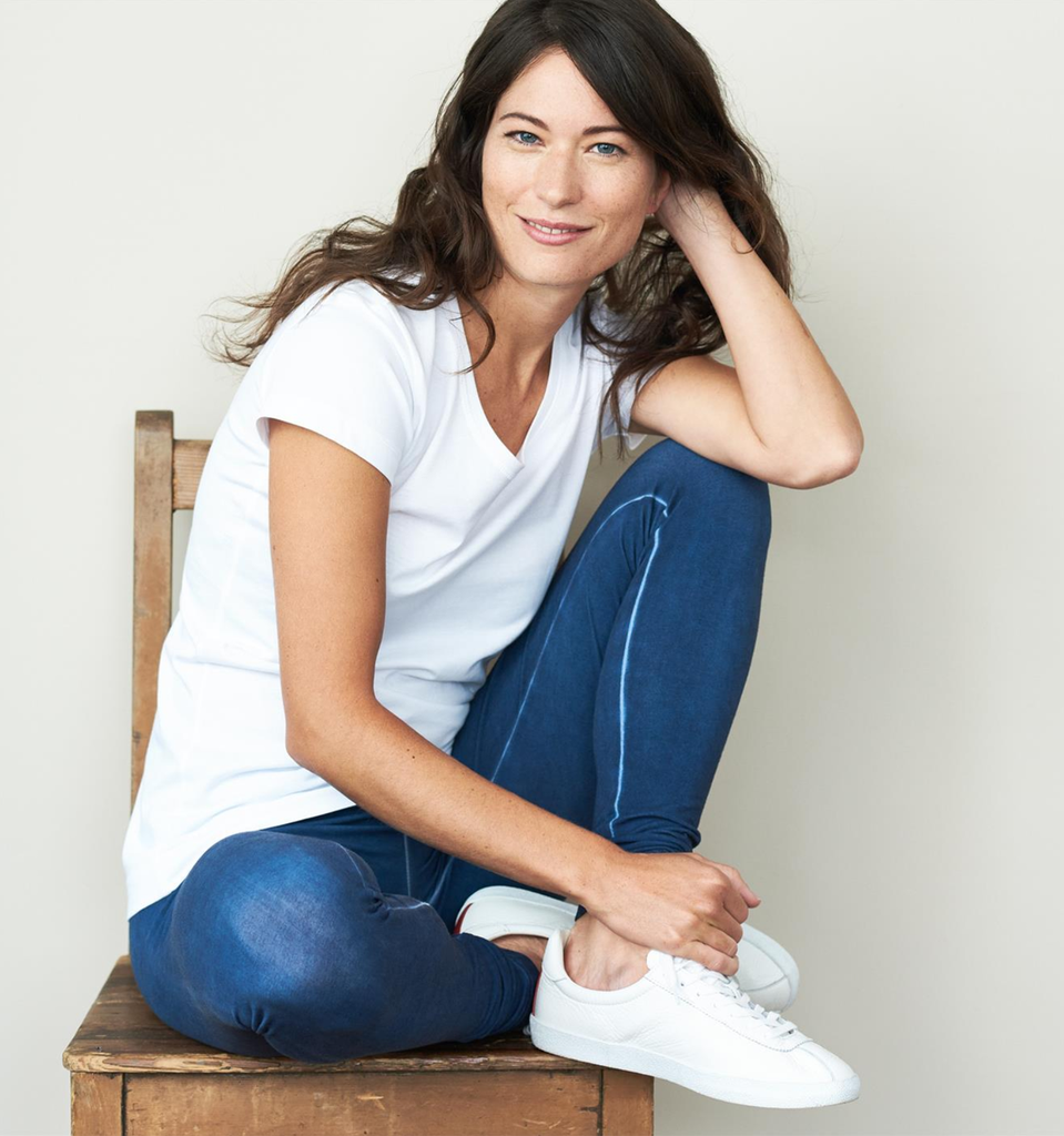 Women Organic Cotton Leggings Color: indigo blue