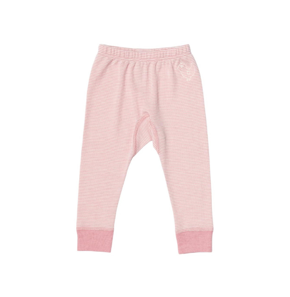Organic Wool/ Silk Long Johns Color: 158 natural/rose striped