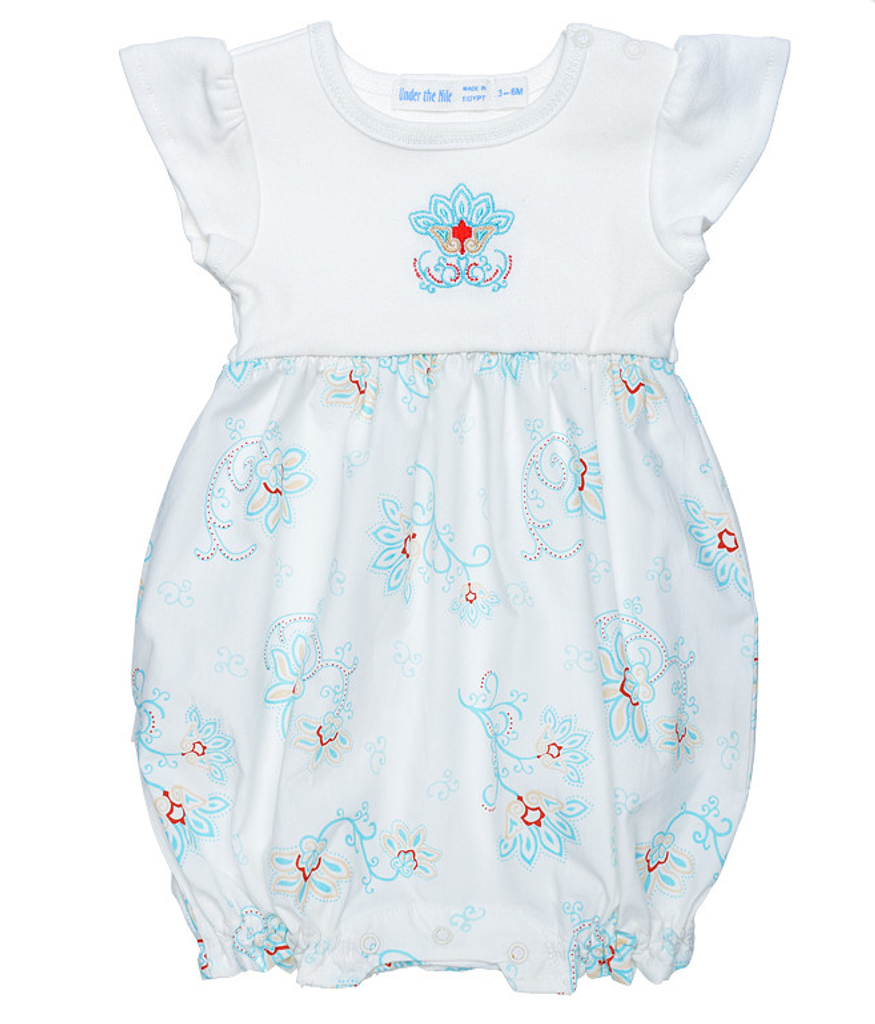 Romper w/ Embroidery - Princess Petal Poplin | Under the Nile