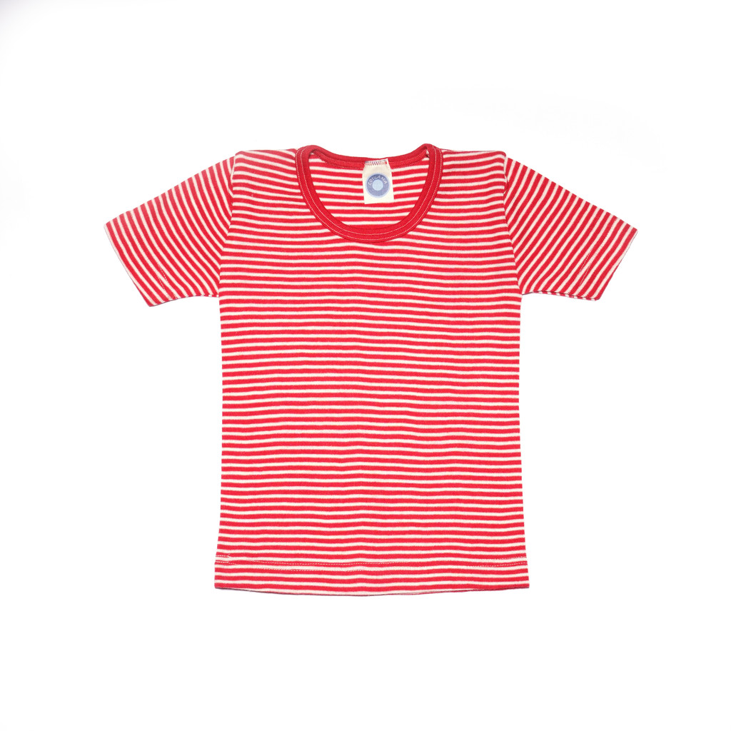 Organic Wool/ Silk Childrens Short Sleeve Shirt Color:  Red Striped