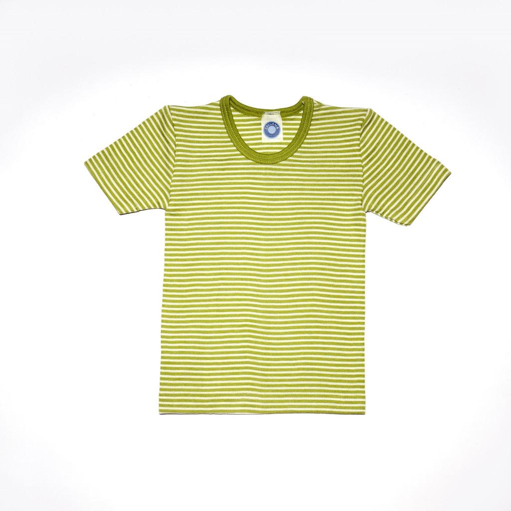 Organic Wool/ Silk Childrens Short Sleeve Shirt Color:  Green Striped