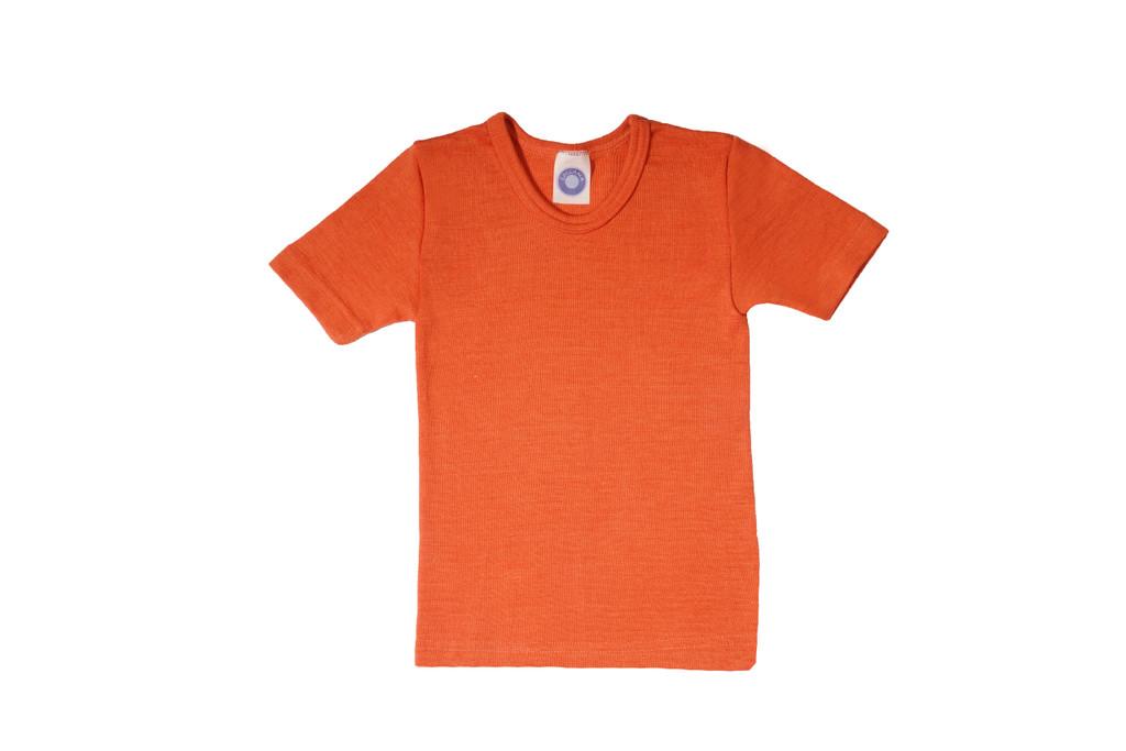 Organic Wool/ Silk Childrens Short Sleeve Shirt Color:  Saffron Orange