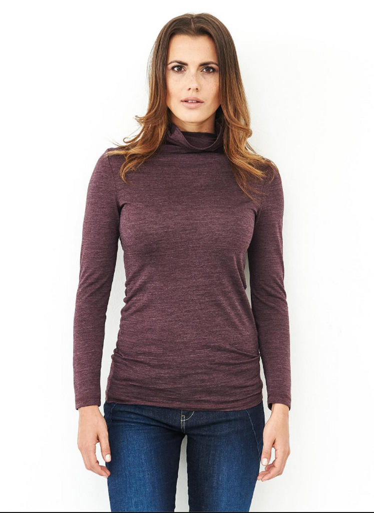Women's Turtleneck shirt Organic Wool Silk