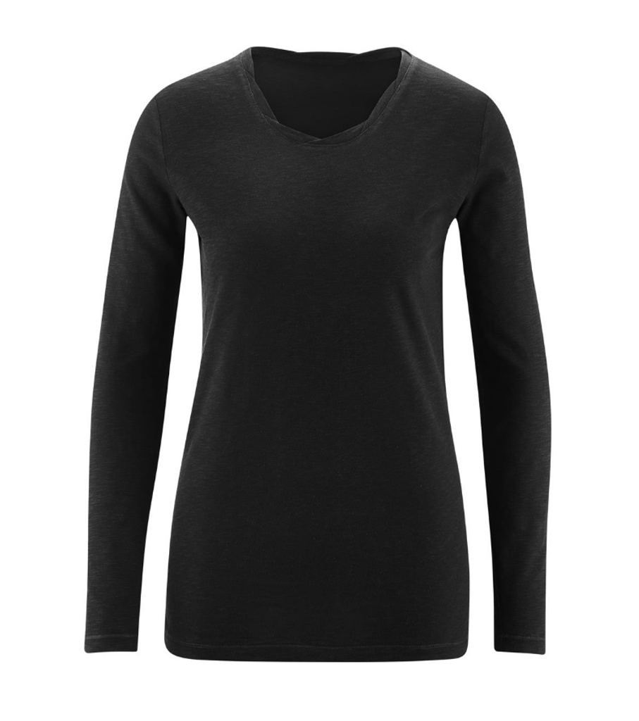 Women's Organic Cotton Long Sleeved Shirt Color: Black