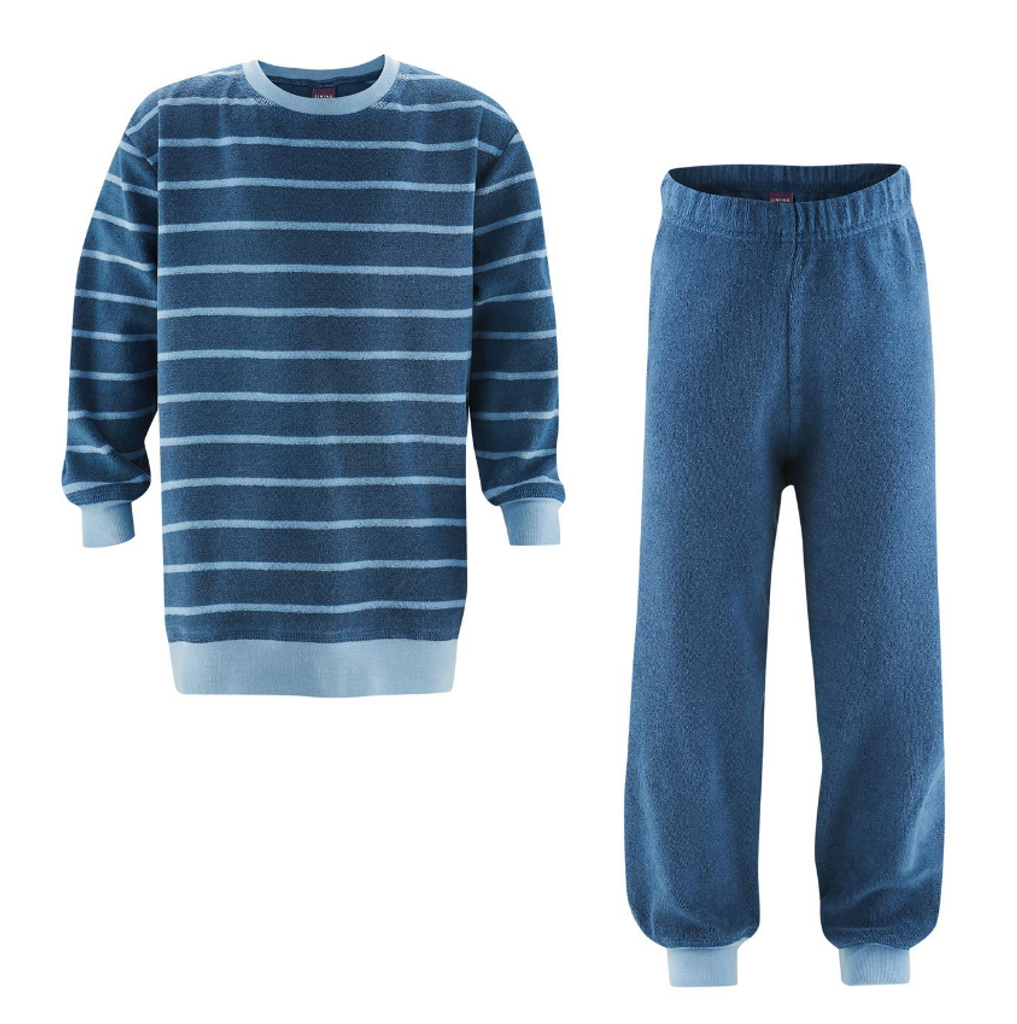 Organic Cotton Terry Shirt and Pants Set Color: twilight blue striped