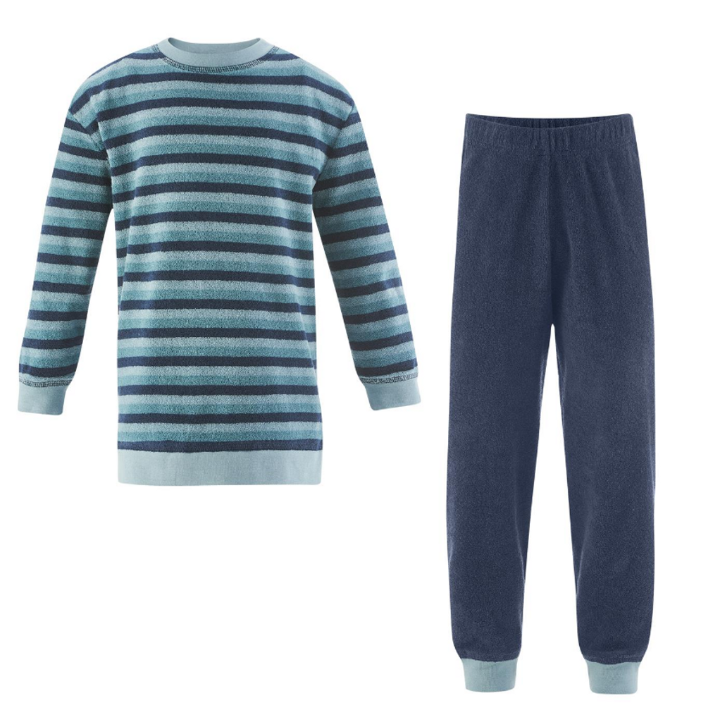 Organic Cotton Terry Shirt and Pants Set Color: mineral blue