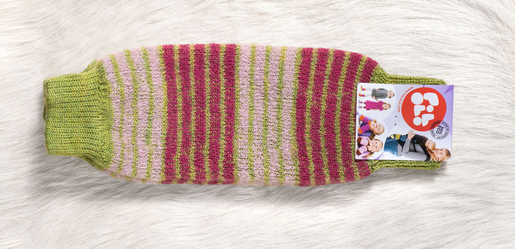 Organic Wool Leg and Arm Warmer Color: 423 pistazie purpur
