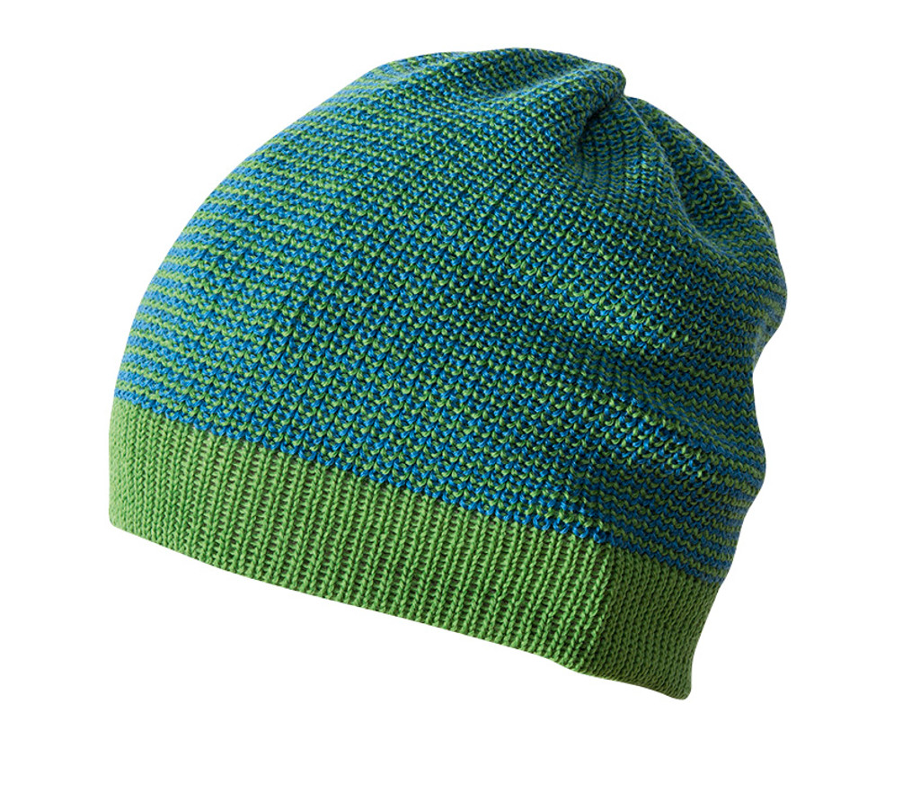 Organic Merino Wool Beanie Color: Green Melange