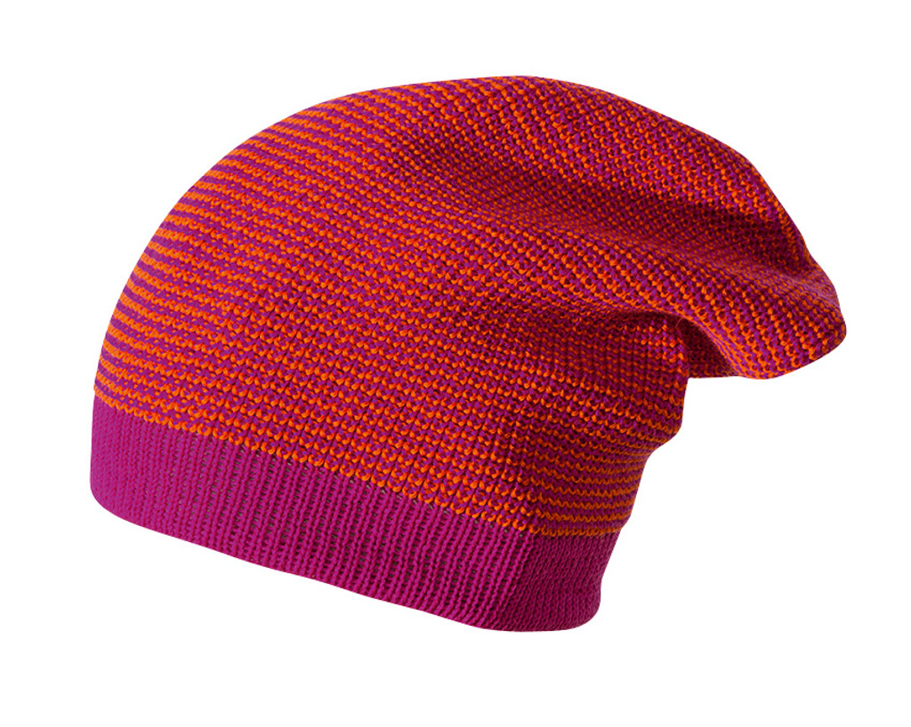 Merino Wool Long Beanie Color: Berry Melange