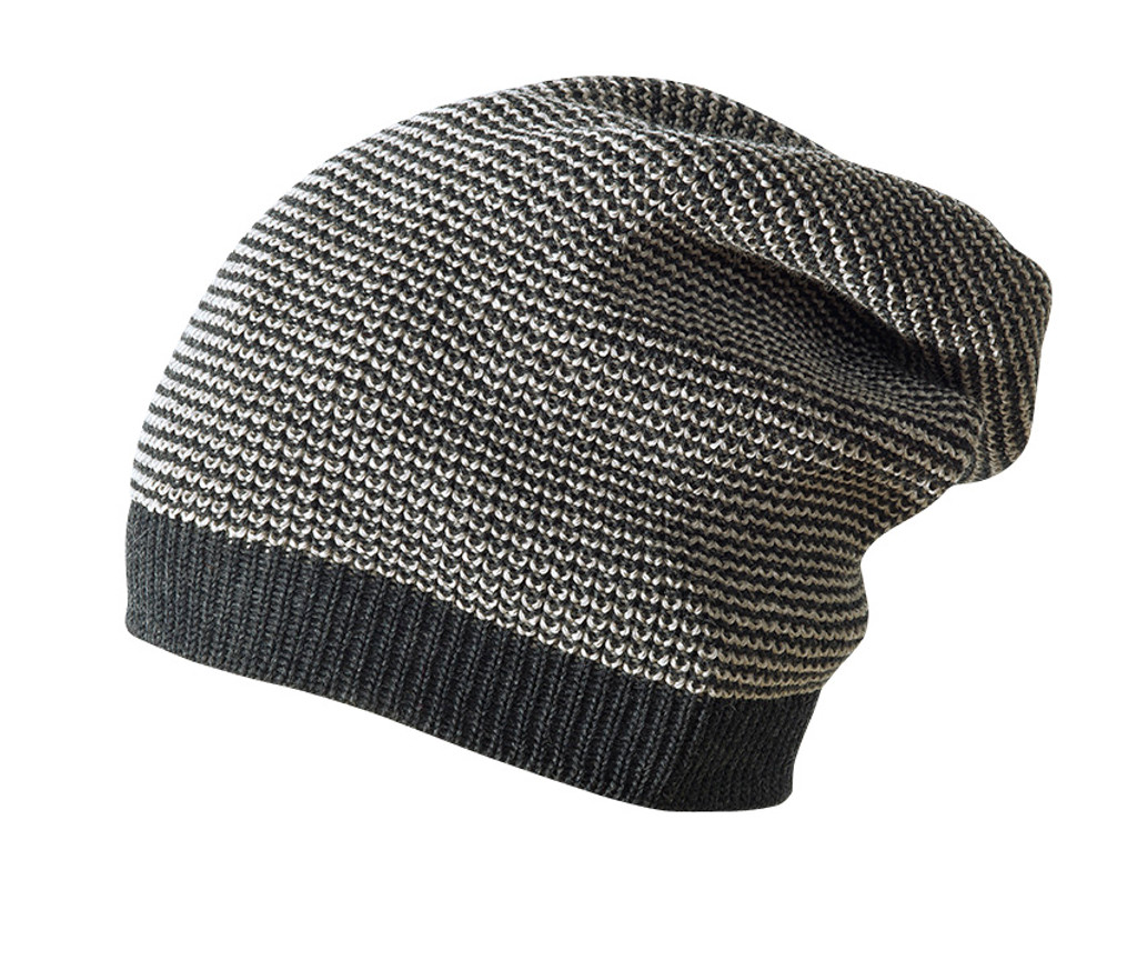 Merino Wool Long Beanie Color: Antracit Melange