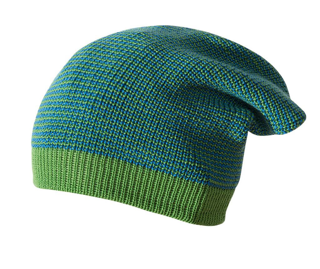 Merino Wool Long Beanie Color: Green Melange