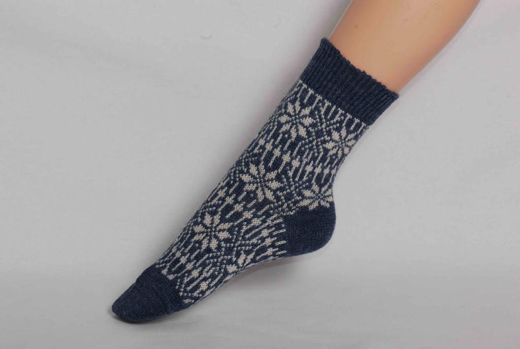 Organic Merino Wool Socks Color: 80 Denim/ Natural